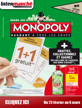 grand jeu monopoly du mardi 23 f vrier au dimanche 6 mars. Black Bedroom Furniture Sets. Home Design Ideas