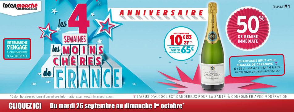 Les 4 semaines les moins chères de France du mardi 26 septembre au dimanche 1er octobre 2017 Intermarché Givet