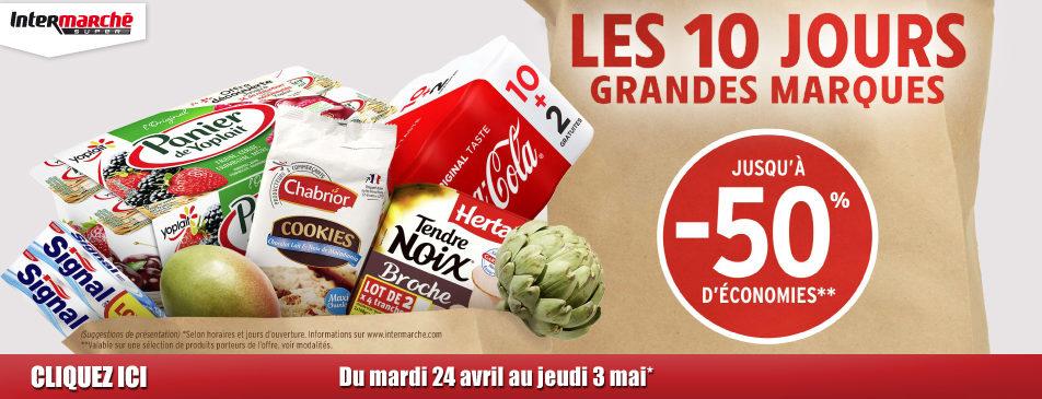 Les 10 jours grandes marques du mardi 24 avril au jeudi 3 mai Intermarché Givet