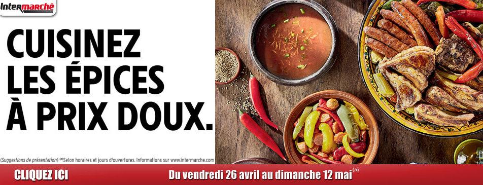 Cuisinez les épices à prix doux du vendredi 26 avril au dimanche 12 mai Intermarché Givet