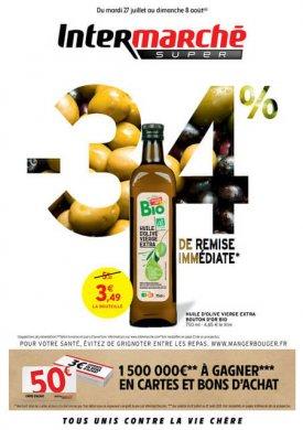 -34% sur l'huile d'olive Bio Bouton d'Or – Du mardi 27 juillet 2021 au dimanche 8 août 2021 Intermarché Givet